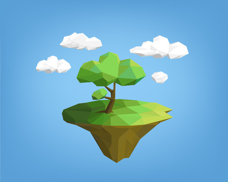 landscape low poly style - tree on island, blue sky and clouds. polygonal illustration