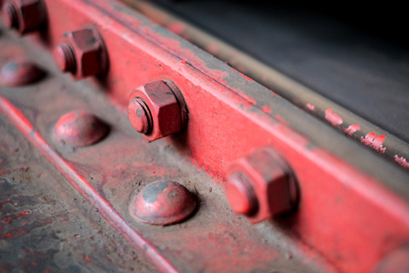 steel construction detail -  bolt, screw, nuts  and rivets closeup  -