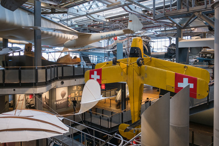 Berlin, Germany - February, 2018: Airplanes at aviation exhibition inside the German Museum of Technology (Deutsche Technikmuseum Berlin (DTMB))