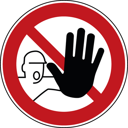 Illustration pour no trespass sign - trespassing prohibited symbol - stop pictogram - image libre de droit