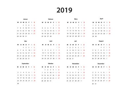 Kalender 2019 ,   Kalender einfache Vorlage, deutsch