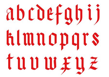 Illustration pour gothic font alphabet - old handwriting abc vector letters - image libre de droit