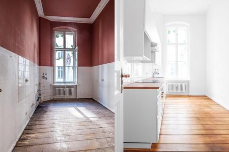 Photo pour renovation concept -kitchen room before and after refurbishment or restoration - image libre de droit