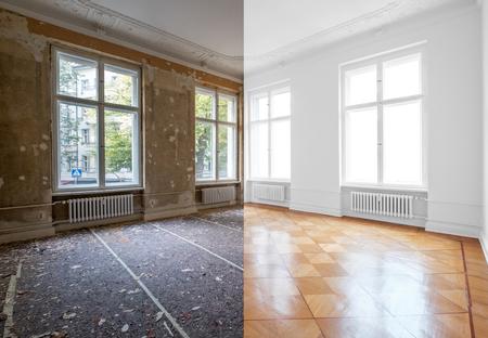 Photo pour flat renovation, empty room before and after refurbishment or restoration - image libre de droit