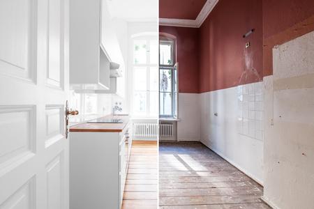 Photo pour renovation concept - kitchen room before and after refurbishment or restoration - image libre de droit