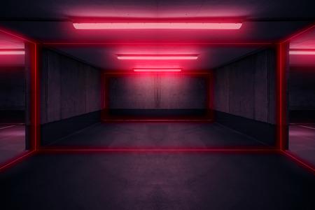 Foto per parking lot with neon light, dark underground garage - Immagine Royalty Free