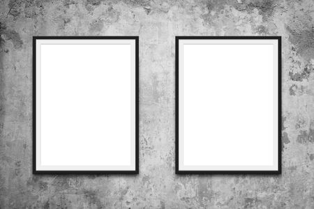 Photo pour two picture frames hanging on wall mock-up - image libre de droit