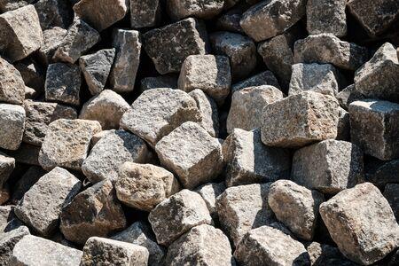 pile of cobble stones - pavement stone closeup