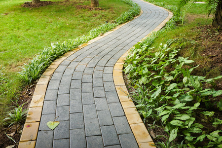 Photo for Curve walking path in park - Royalty Free Image