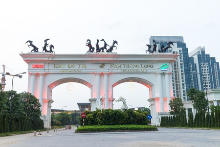 Hanoi, Vietnam - Aug 7, 2016: Entrance of Ciputra urban area in Dong Anh district
