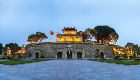 Panorama Central sector of Imperial Citadel of Thang Long,the cultural complex comprising the royal enclosure first built during the Ly Dynasty. An UNESCO World Heritage Site in Hanoi