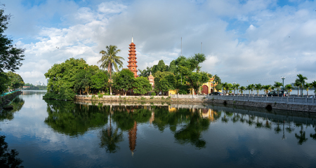 Photo for Tran Quoc pagoda in the morning, the oldest temple in Hanoi, Vietnam. Hanoi cityscape. - Royalty Free Image