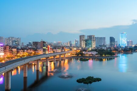 Photo for Aerial skyline view of Hanoi at Hoang Cau lake. Hanoi cityscape by sunset period - Royalty Free Image