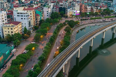 Photo pour Hanoi cityscape during sunset period. Skyline view of Hanoi at Hoang Cau street - image libre de droit