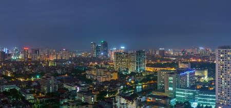 Foto für Cityscape of Hanoi skyline at Nguyen Chi Thanh street, Dong Da district during sunset time in Hanoi city, Vietnam in 2020 - Lizenzfreies Bild