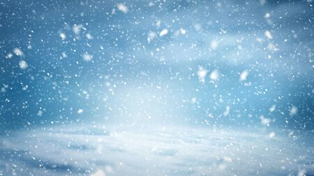 A background pattern of a winter landscape with snowflakes, clouds and cold light