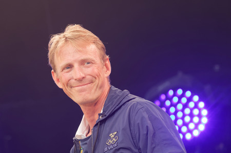 STOCKHOLM, SWEDEN - AUG 21, 2016: Closeup of smiling swedish show-jumper Peder Fredricson when swedish olympic athletes are celebrated in Kungstradgarden, Stockholm,Sweden,August 21,2016