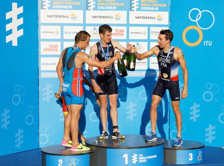 Winner's stand in the Men's ITU World Triathlon series event in Stockholm, Sweden