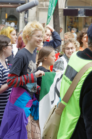 STOCKHOLM, SWEDEN - MAY 24, 2019: Greta Thunberg and the Global Strike for Future, a demonstration to force the heads of state to make decitions to stop the climate change. Stockholm, Sweden. May 24,2019