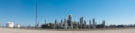 panorama shot of an oil refinery at the rotterdam harbor
