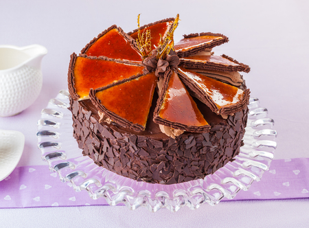 Hungarian Dobos torte, chocolate cake with caramelized top.