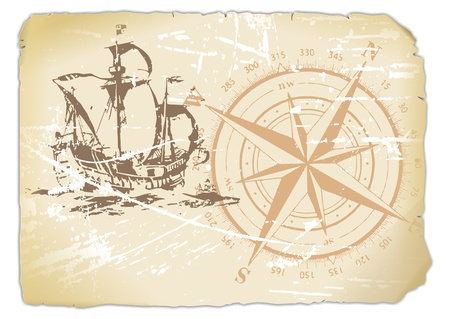 yellowed paper with compass and sailing ship
