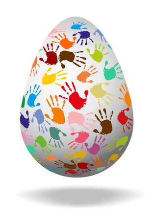 Egg with colorful handprints