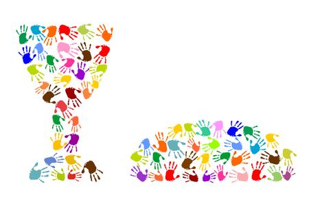 Vektor für Lats supper made of colorful handprints - Lizenzfreies Bild
