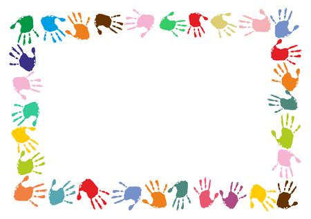 Illustration for rectangular frame made of colorful handprints - Royalty Free Image