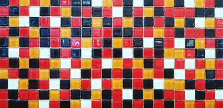 Colorful (Red, Orange, White and Black) pattern of title floor or wall for background - Art wallpaper and Beautiful concept