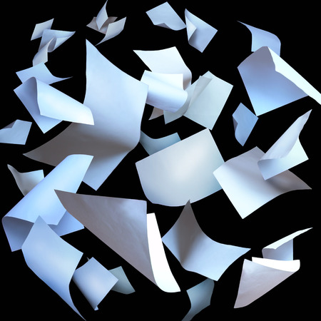 Photo pour Flying paper sheets flying pages - image libre de droit