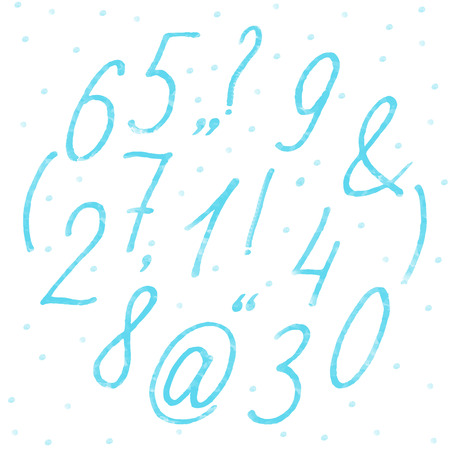 Hand drawn vector signed and numbers (characters) in marker or watercolor imitation technique for any text in blue or mint color. May be used for cards, any text, birthday invitation, wedding invitation or any you holiday party invitation and congratulati