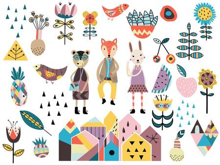 Vektor für Set of cute scandinavian style elements and animals. Hand drawn vector illustration. - Lizenzfreies Bild