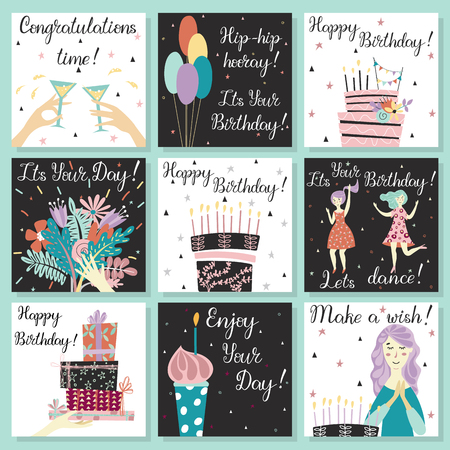 Illustration pour Birthday cards set. Birthday cake with candles and congratulations lettering. Girl making a wish. Hand with gifts and wishes of happiness. Bouquet of flowers in hand. Cupcake with a candle. Two girls dance in dresses at the birthday party. Glasses with a drink. Baloons. Birthday cake. - image libre de droit