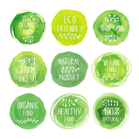 Illustration for Ecology products watercolor green icon collection. Packaging tags for natural vegetarian healthy products. Hand drawn painting. Sign label,textured emblem set. Organic design template. - Royalty Free Image