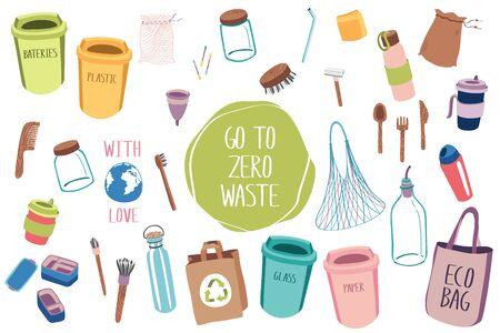 Illustration pour Big set of items for eco lifestyle zero waste life. Eco home. Ecology life. Go green. Less plastic. - image libre de droit