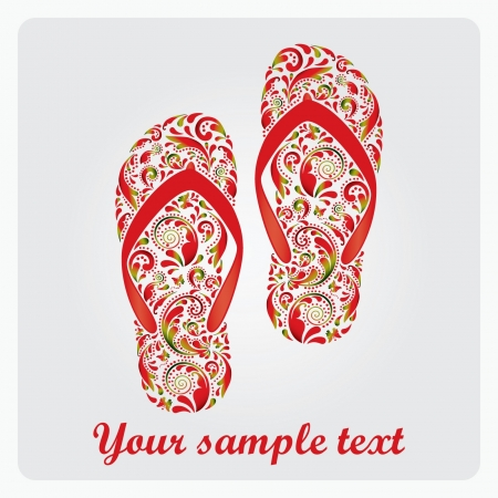 Flip flops, made of the leaf pattern  Vector EPS10 illustration