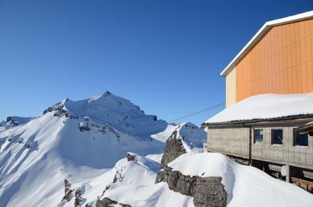 Cable car road to peak Gloria, Schilthorn, Switzerland