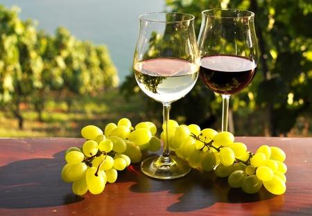 Foto für Pair of wineglasses and bunch of grapes. Lavaux region, Switzerland  - Lizenzfreies Bild