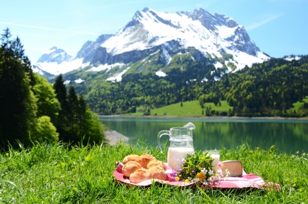 Photo pour Milk, cheese and bread served at a picnic on Alpine meadow, Switzerland - image libre de droit