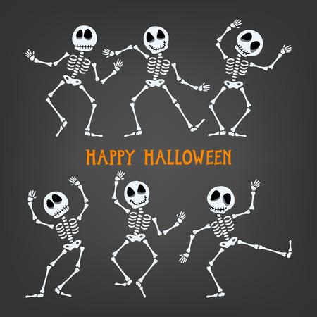 Set of dancing skeleton. Halloween skeleton with assorted expressions. Vector illustration.
