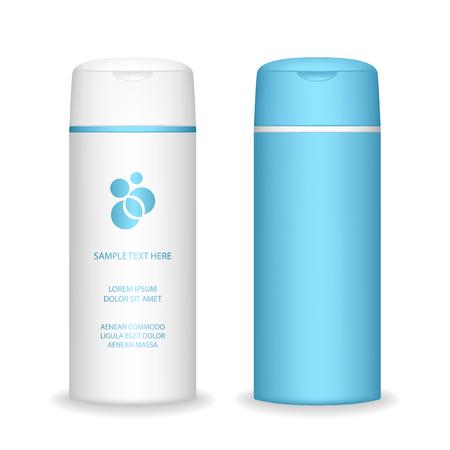 Illustration pour Shampoo bottle isolated on white background. Cosmetic bottle for liquid, shampoo, bath foam. Beauty product package, vector illustration. - image libre de droit