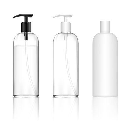 Illustration pour Cosmetic transparent plastic bottle with dispenser pump. Skin care bottles for shower gel, liquid soap, lotion, cream, shampoo, bath foam. Beauty product package. Vector illustration. - image libre de droit