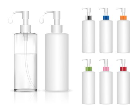 Illustration pour Cosmetic plastic bottle with dispenser pump. Liquid container for gel, lotion, cream, shampoo, bath foam. Beauty product package, vector illustration. - image libre de droit