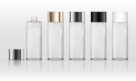 Illustration pour Cosmetic transparent plastic bottle. Liquid container for gel, lotion, cream, shampoo, bath foam. Beauty product package. Vector illustration. - image libre de droit