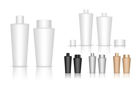 Illustration pour Cosmetic bottle. Liquid container for gel, lotion, cream, shampoo, bath foam. Beauty product package. Vector illustration. - image libre de droit