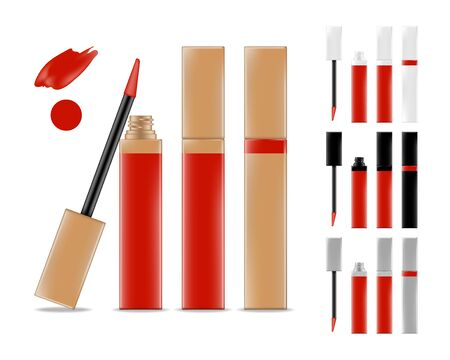 Illustration pour Collection of lipstick tubes with different color shade. Colorful lip gloss smudges. Makeup cosmetic product package. Vector illustration. - image libre de droit