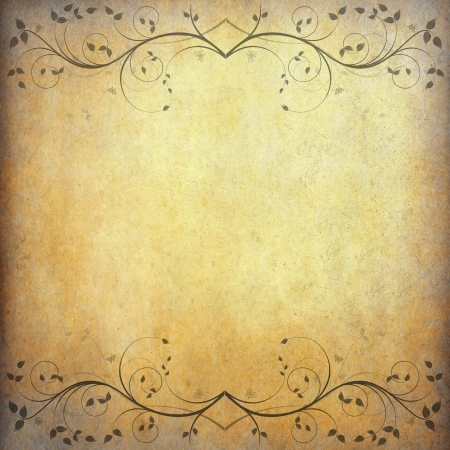 old grunge paper background with vintage flower and space