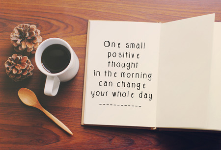 Photo for Inspirational motivating quote on notebook and coffee with retro filter effect - Royalty Free Image