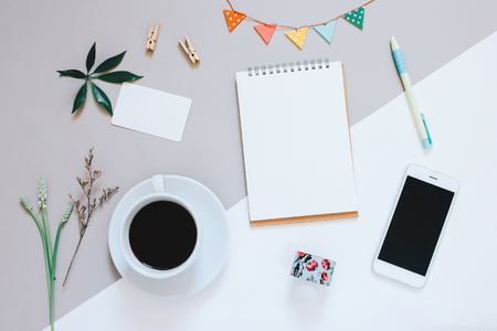 Photo for Creative flat lay design of cute workspace desk with notebook, coffee, smartphone and decorated cute craft with copy space background, minimal style - Royalty Free Image